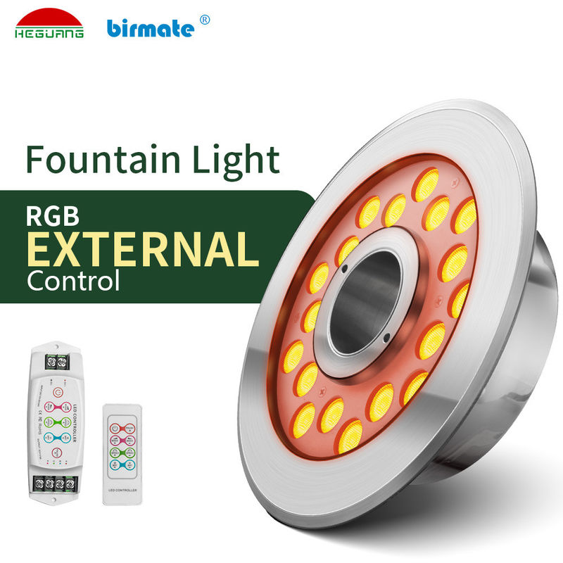 RGB IP68 18W 600LM Remote Control Fountain Lights For Plaza