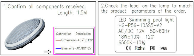 White Color 18W IP68 LED Pool Light , Waterproof Lights For Swimming Pool