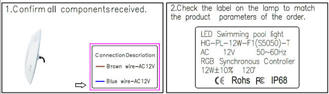 12V AC IP68 waterproof 12W 2 wires RGB synchronous control wall mounted fiberglass pool light